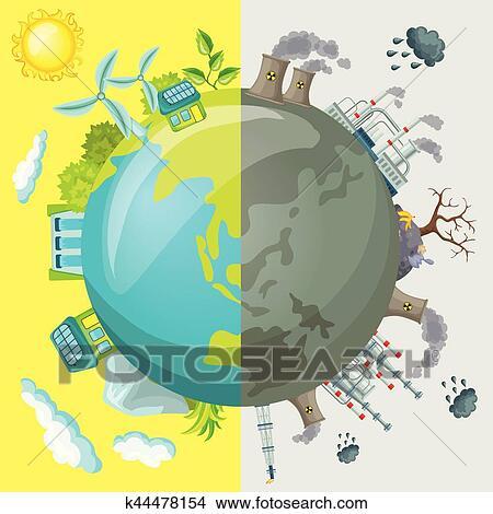 écologie Dessin Animé Comparatif Concept Clipart