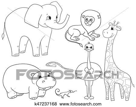 Clip Art - animales, de, áfrica, objeto, colorido, vector, para ...