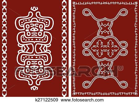 Folk Tribal Design Motif Wall Painting Clip Art