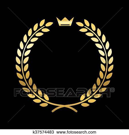 Clipart or couronne laurier couronne k37574483 - Clipart couronne ...