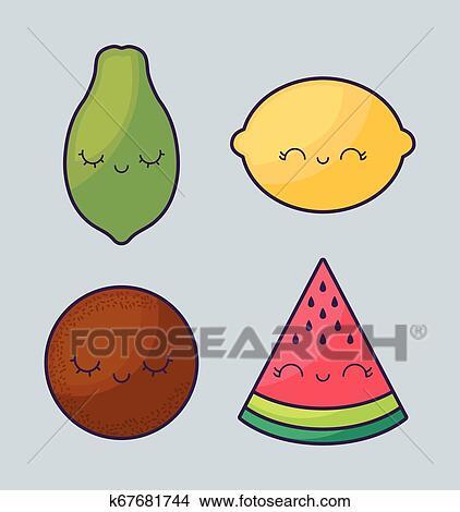 Papaia Com Jogo Frutas Kawaii Personagem Clipart