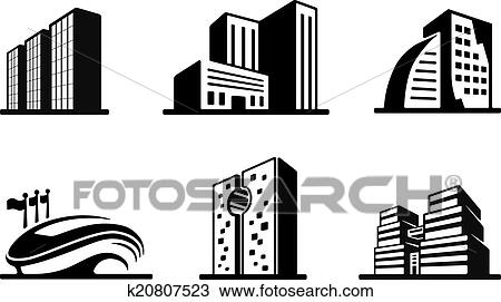 Clipart Of Set Black And White Vector Building Icons K20807523