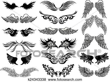 Wings Tattoo Vector Set Clip Art