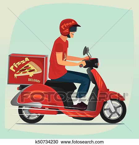 clipart of young pizza courier riding on scooter k50734230 search