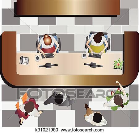 Clipart - büromöbel, festempfang, oberseite, wetteifern k31021980 ...