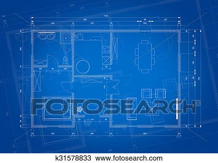 drawing of blueprint of architect plan for house construction