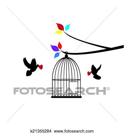 Dessin Oiseau En Cage clipart - cage oiseau k21355284 - recherchez des clip arts, des