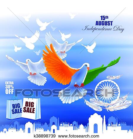 Clip Art Of Flying Dove On Indian Independence Day Celebration