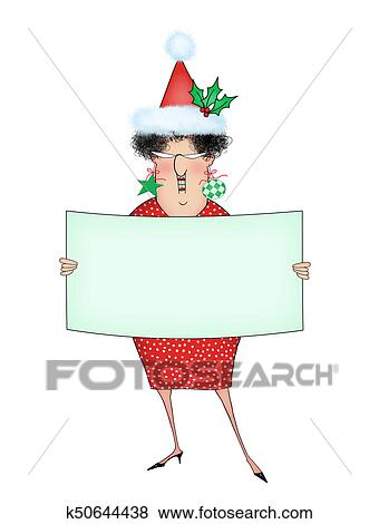 5d1cd96b6e632 Stock Illustration - Funny Christmas Cartoon Lady Holding a Sign With Room  For Text. Fotosearch