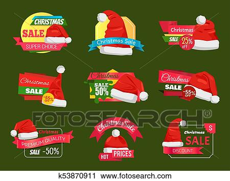 8a72803c6050c Clipart - Great Diversity of Santa Hats on Shopping Labels. Fotosearch