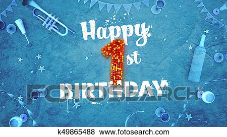 Happy 1st Birthday Card With Beautiful Details Stock Illustration