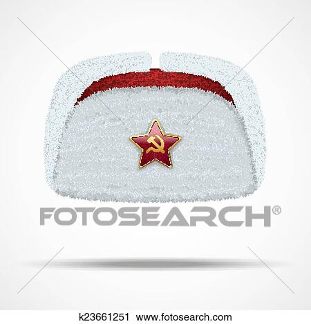 Clipart - Russian white winter fur hat ushanka with red star.. Fotosearch -  Search aa2ed5ad133f