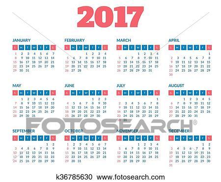 Cerca Calendario.Clipart Semplice Calendario 2017 Sagoma K36785630