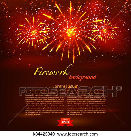 Starry Fireworks On Red Background Clipart K34423040