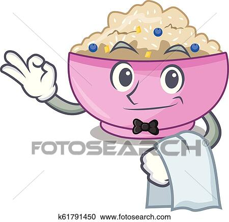 Waiter Porridge Breakfast In Cartoon Dining Table Clipart