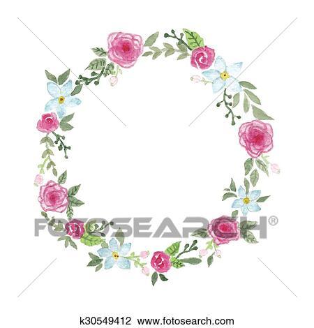 Clipart Aquarelle Fleur Couronne K30549412 Recherchez Des Clip