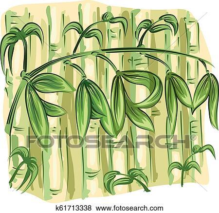 Bamboo Farming Illustration Clip Art