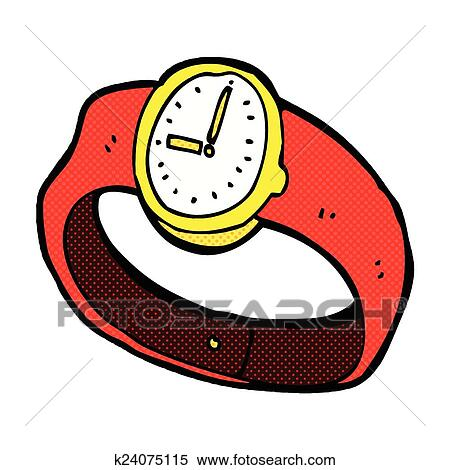 clipart of comic cartoon wrist watch k24075115 search clip art rh fotosearch com watch clip art with travel watch clipart images