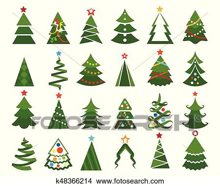 Clipart couleur sapin no l ensemble k48366214 - Clipart sapin de noel ...