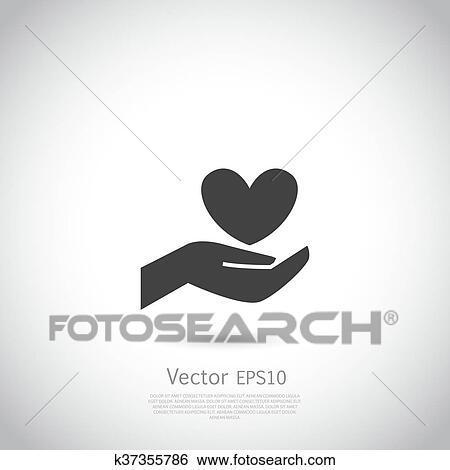 Clip Art - hand holding, herz, symbol, zeichen, symbol, logo ...