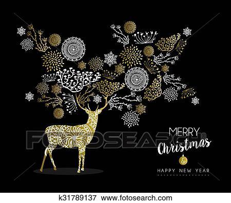 Clipart Joyeux Noel Nouvel An Or Cerf K31789137 Recherchez