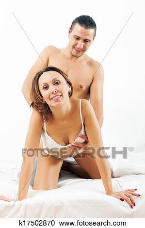 Mann Frau Spielen Zusammen Bett Stock Fotografie K17502870