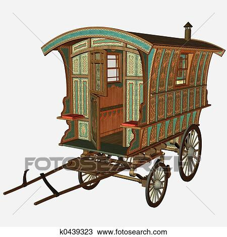 Medieval Wagon Drawing K0439323 Fotosearch
