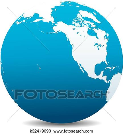 Map Of The World Globe View.North America Canada World Globe Clipart