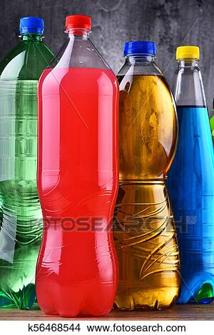 Plastic bottles of assorted carbonated soft drinks Picture ...