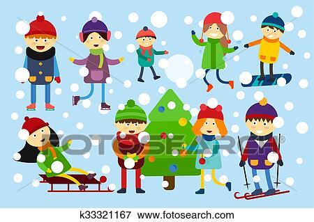 Weihnachtsbaum Spiele.Weihnachten Kinder Spielender Winterbilder Spiele Stock Illustration