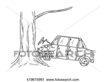 Clipart of car accident sketch k19675991 - Search Clip Art ...
