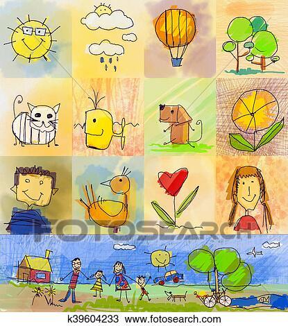 Criancas Desenho Styles Simbolos Jogo Com Familia Humana