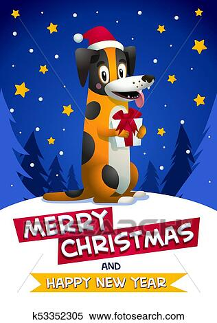 cute dog with merry christmas and happy new year inscription stylish yellow dog with santa claus red hat on blue christmas background winter season greetings concept symbol of the year 2018 clipart https www fotosearch com csp044 k53352305