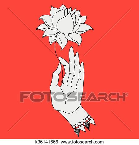 Clip Art Of Elegant Hand Drawn Buddha Hand With Flower Isolated