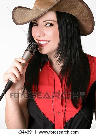 Stock Photography of Friendly country girl with a microphone ... 2efb65ad8a65