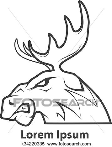 Clipart Of Moose Head Profile K34220335