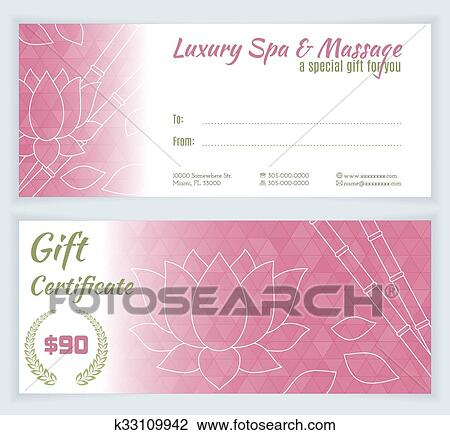 Clipart Of Spa Massage Gift Certificate Template K33109942 Search