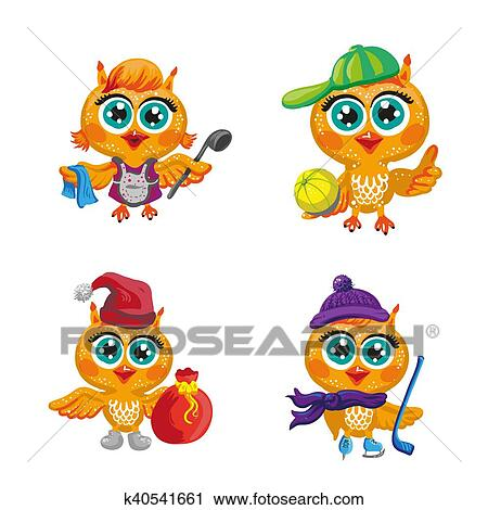 Vector set of cute owls  Cartoon characters different professions  Clipart