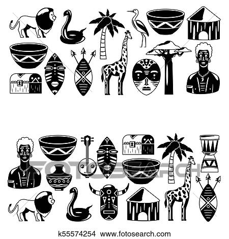 African banners  Africa icons and design elements for banners, posters,  backgrounds  Giraffe, tribal masks, palm, baobab, drum, music Clipart