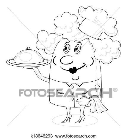 Dessin cuisinier femme plateau contour k18646293 - Dessin contour ...