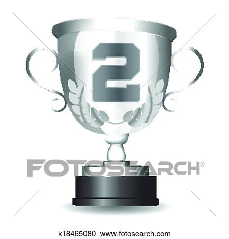 Clipart Of Silver Cup For The Second Place K18465080