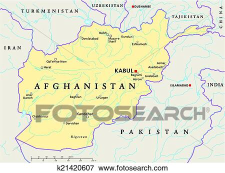 Afghanistan Political Map Clip Art K21420607
