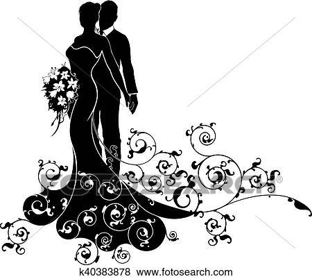Clip Art Of Bride And Groom Wedding Silhouette K40383878