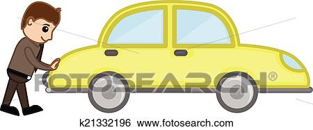 clip art of cartoon man pushing car vector k21332196 search