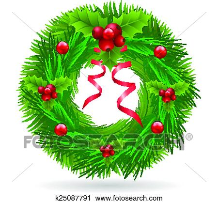 Clipart Of Christmas Wreath With Red Ribbon K25087791 Search Clip