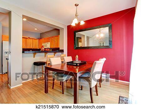 Archivio fotografico - sala da pranzo, con, contrasto, parete rossa ...