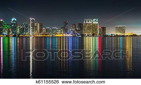 San Diego Dowtown Skyline Night Water Reflections Stock Photograph K61155526 Fotosearch