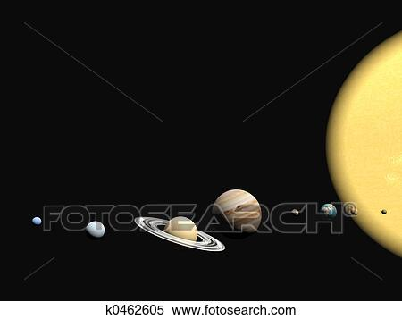 stock illustration of the solar system abstact presentation