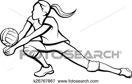 clip art of volleyball dig girl k26767867 search clipart rh fotosearch com female volleyball player clipart clipart girl volleyball player