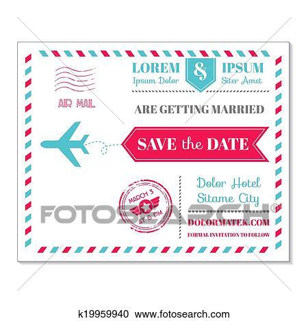 Clipart of wedding invitation card vintage postcard airmail theme wedding invitation card vintage postcard airmail theme in vector stopboris Choice Image